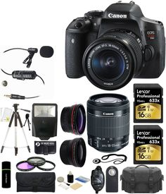 Canon EOS Rebel T6i 24.2MP CMOS Digital SLR Camera with EF-S 18-55mm f/3.5-5.6 IS STM Lens + 58mm Telephoto Lens + Wide Angle Lens + Microphone + Case + Flash + Grip + Tripod + Filter Kit + Lexar 32GB -Deluxe Video Bundle. Kit Includes 18 Products -- All Brand New with Manufacturer supplied accessories, and Warranty:. Canon EOS Rebel T6i DSLR Camera with EF-S 18-55mm f/3.5-5.6 IS STM Lens + 58mm Telephoto Lens + 58mm Wide Angle Lens. 2 of Lexar Professional 16 GB 633x High-Speed Class 10...