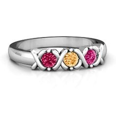 2 to 5 Stone Hugs and Kisses Ring #jewlr