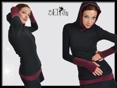 hoodie black with berry gauntlets Elf, Berry, Black Hoodie, High Neck Dress, Turtle Neck, Shirts, Hoodies, Sweaters, Dresses