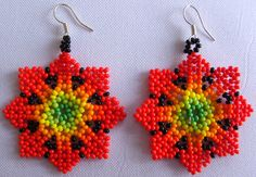 Mexican Huichol Beaded earrings by Aramara on Etsy, $7.00 Seed Bead Jewelry, Bead Earrings, Beaded Jewelry, Crochet Earrings, Native American Beadwork, Beaded Brooch, Peyote Patterns, Beading Projects, Beads And Wire