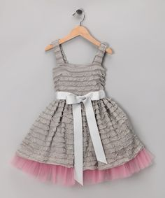 Gray Ruffle Dress - LOVE the idea of using that pre ruffled fabric with tulle in a dress. so cute!