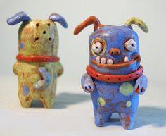 Salt & Pepper shakers Jinx and Jax handmade ceramic dog sculpture salt and…
