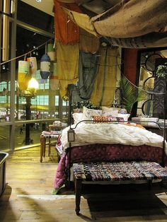 Bohemian Bedroom Interior Drapery & paper lanterns