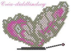 use velvet deep purple, amethy Native Beading Patterns, Peyote Patterns, Loom Patterns, Stitch Patterns, Butterfly Cross Stitch, Butterfly Pattern, Beading Tutorials, Beading Projects, Seed Bead Crafts