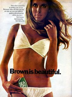 Year: 1970 Model(s): * Photographer: * Designer(s): * (Sea & Ski) __________ Additional Information from Flickr: Brown is Beautiful by retro-space on Flickr. Teen - June 1970 Sea & Ski Tanning Advert —PLEASE DO NOT EDIT THIS TEXT—