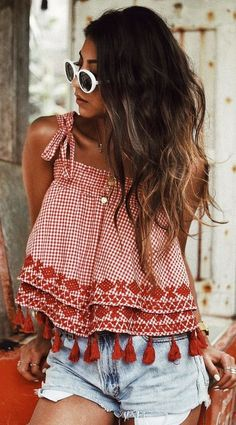 Gingham tassel top w/distressed denim shorts