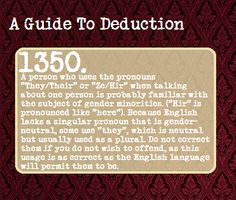 """guide to deduction 1350  The English Language- """"What is gender neutrality?"""""""