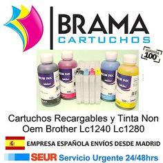 4 Cartuchos recargables y 4 botella de tinta de 100ml Inktec, Hasta 20 de recargas pos solo 46,99€ iva y portes incluidos.  Brama Cartuchos