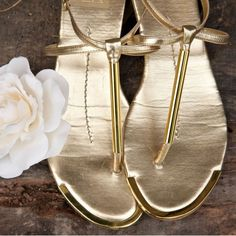 Gold wedding sandals shoes