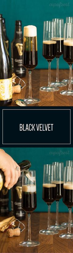 The Black Velvet is a unique vintage cocktail that dates back to the 1800s. Topped with champagne, you'll want to give this classic a try. #Ad