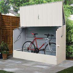 Trimetals Cream Outdoor Heavy Duty Steel Bicycle Storage Locker (Outdoor Steel Cream Bicycle Storage Locker), Beige Off-White