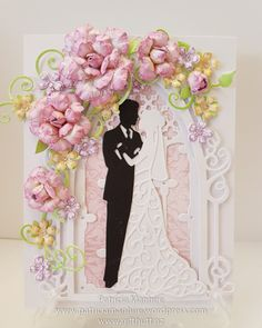 Beautiful wedding card featuring Heartfelt Creations Classic Rose and Wildwood Cottage flowers and Botanic Window. Bride and Groom is Sue Wilson
