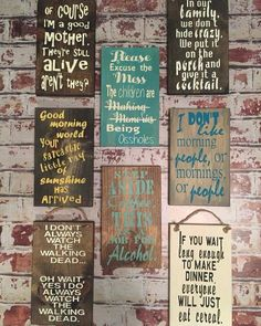 """""""Sarcasm Series"""" signs from Jealous of our Junk. These would make GREAT Christmas gifts for friends & family (with a sense of humor). Only $18 a piece!! These are all 7x12. You can pick your wood color & lettering!!! Samples on our FB page """"Jealous of Our Junk"""". We ship! Find this business on http://www.junknlovedistrict.com/directory/jealous-of-our-junk/ Contact jilliefox40@gmail.com to order."""