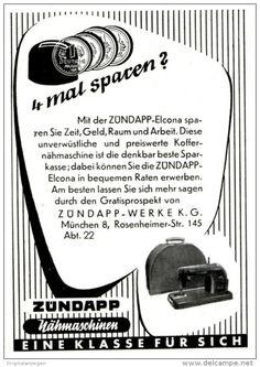 Original-Werbung/ Anzeige 1953 - ZÜNDAPP NÄHMASCHINEN - ca. 65 X 100 mm