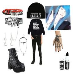 """""""My outfit"""" by psycoticecho ❤ liked on Polyvore featuring Demonia and Tripp"""