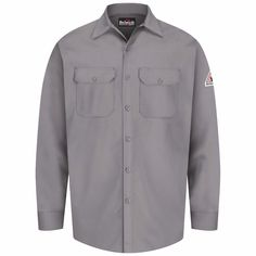 6b67acc1b96b6 Attain a flamboyant appeal and stay completely protected at work when  wearing this Bulwark EXCEL FR Men s Large Silver Grey Work Shirt.