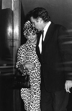Elizabeth Taylor: Head-to-Toe Leopard Print with Richard Burton {via We Heart Vintage } Hollywood Icons, Golden Age Of Hollywood, Vintage Hollywood, Hollywood Stars, Classic Hollywood, Hollywood Actresses, Hollywood Couples, Ocelot, Elizabeth Taylor Style