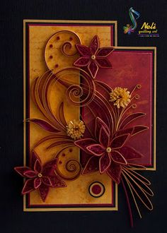 gorgeous handmade card ... Fall Theme ... paper quilling ...luv the colors ... fantastic card!!