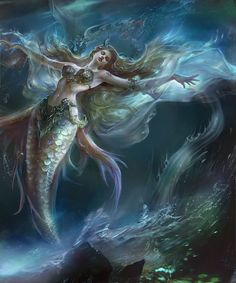 Fantasy, Beautiful and dreams Fantasy Girl, Fantasy Mermaids, Mermaids And Mermen, Dark Fantasy Art, Siren Mermaid, Mermaid Lagoon, Mermaid Fairy, Mermaid Tale, Fantasy Creatures