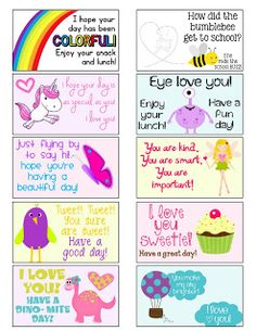 FREE Lunch Box Notes   MySunWillShine.com