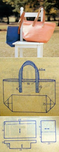 Diy Bag Pattern Leather Sewing Tutorials Ideas For 2019 Sewing Projects For Beginners, Sewing Tutorials, Sewing Patterns, Bag Patterns, Bag Tutorials, Craft Patterns, Patchwork Bags, Denim Bag, Handmade Bags