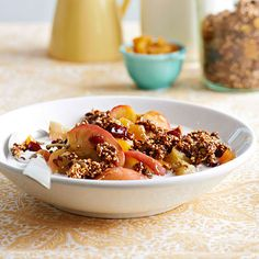 Quinoa-Pumpkin Seed Granola is great for a healthy start to your morning! Find more ideas here: http://www.bhg.com/thanksgiving/recipes/pumpkin-recipes/?socsrc=bhgpin090914quinoapumpkinseedgranola&page=5