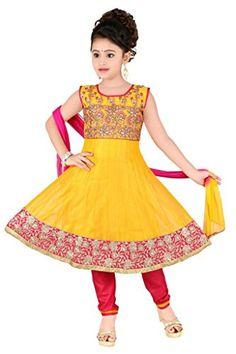 Mango Yellow Colour Girls Party Wear Salwar Suit, Vasundhara Fashions Indian Clothing