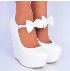 Koi Couture Ladies White Pu Leather Bow Wedges and other apparel, accessories and trends. Shoes Heels Wedges, Wedge Shoes, Women's Shoes, Me Too Shoes, Shoe Boots, Wedge Sandals, Flats, Pretty Shoes, Beautiful Shoes