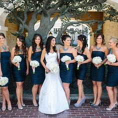 Groomsmen ties w/ grey suites look so nice with navy bridemaids dresses. click link to see more