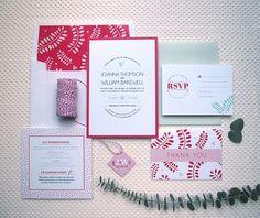 Debra Wedding Invitation Suite, Botanical, Floral & Modern invitation, envelope liner, reply card, info insert, thank you note by Jennifer's Paper