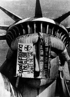 Vietnam Vets protesting the war occupy the Statue of Liberty. 1971.