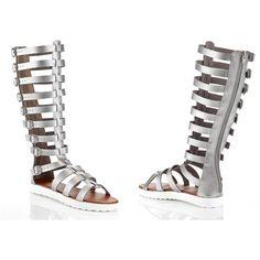 Women's Henry Ferrera Henry Ferrara Women's Tall Gladiator Sandals:... ($35) ❤ liked on Polyvore featuring shoes, sandals, silver, henry ferrera footwear, tall gladiator sandals, roman sandals, tall shoes and pewter shoes