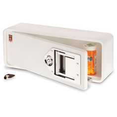 Medication Safe. Fits in a medicine cabinet and keeps prescription medication secure. Pre-drilled holes and the included hardware enable the safe to be mounted to a wall, shelf, or countertop.