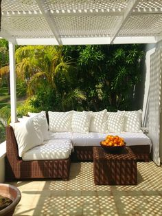 Directly under India's bedroom balcony is this lovely backyard patio. @hsn