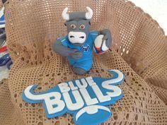 Fondant blue bull cake toppers