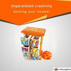 Artistic piece spice box ceramic drawers in wooden frame. #Ceramic #Wooden #Classyplus