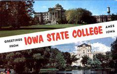 Vintage  Iowa State College Ames photo postcard