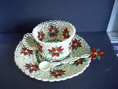 Quilled Poinsettia Tea Cup, Saucer and Spoon