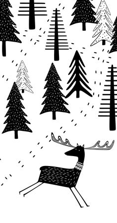 Scandinavian Art Print, Black and White WOODLAND Illustration, Monochrome Nursery Animal Art, Kids Poster, Nordic Poster, Digital Download