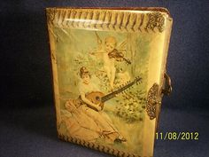 Antique Victorian Art Nouveau Celluloid Velvet Putti Maiden Photo Album w Photos