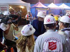 Katastrophenhelfer der Heilsarmee im Einsatz nach dem Absturz des United Flugzeugs #93 bei Shanksville, PA am 11. September 2001