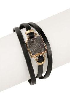 Square Faux Druzy Leather Bracelet