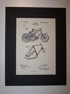 Green Motor Cycle 1900 Patent Drawing Motorcycle