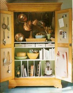Martha Stewart uses an old armoire in the kitchen as a small pantry to house some cooking essentials. I should try this w/ my kitchen armoire. Armoire Pantry, Kitchen Armoire, Armoire Cabinet, Kitchen Storage, Kitchen Pantry, Pantry Storage, Kitchen Items, Antique Armoire, Cabinet Space