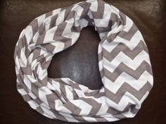 Grey and White Chevron Jersey Knit Infinity Scarf