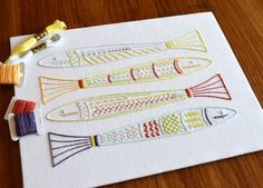 Skinny Fish hand embroidery pattern, modern embroidery, sea embroidery, ocean embroidery, embroidery patterns, embroidery PDF, PDF pattern by KFNeedleworkDesign on Etsy https://www.etsy.com/listing/592349404/skinny-fish-hand-embroidery-pattern