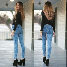 Acid wash jeans with black top