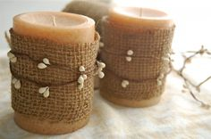 DIY::  Easy Burlap Embellished Candles