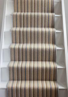 Alternative Stair Runners Striped Carpet Stairs, Striped Carpets, Stair Carpet, Stair Landing, Stair Runners, Carpet Ideas, Hallways, Mudroom, Alternative