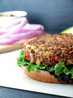 Quinoa & White Bean Veggie Burgers - top this with leftover pesto & you've got yourself a meal!!